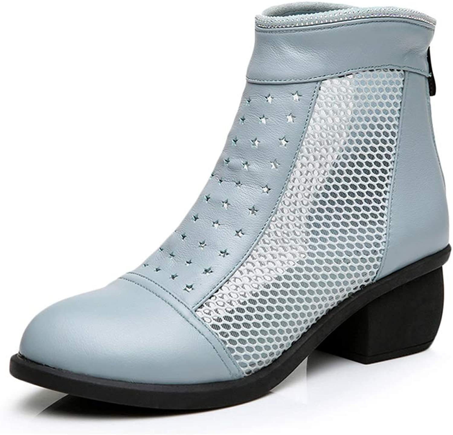TARSHIN Net Boots Female Openwork Boots Spring and Autumn Women's Thick with Single Boots Mesh shoes Women's shoes
