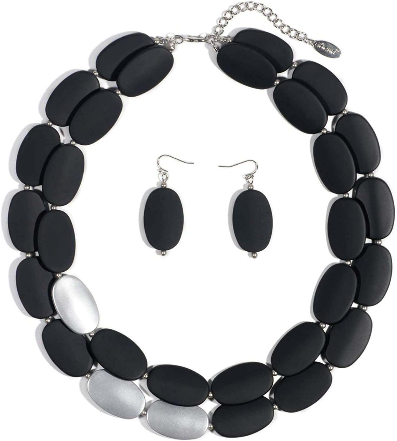 Bocar 2 Over item handling Multi Challenge the lowest price of Japan Layer Chunky Acrylic Statement Neckla Collar Women