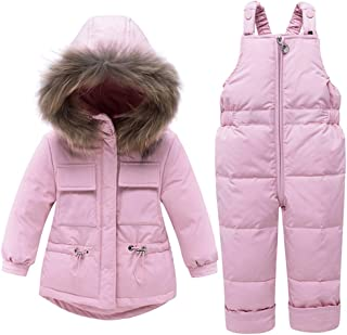 WESIDOM Baby Boys Girls Snowsuit,Toddler Winter Outfit Sets Kids Hooded Fake Fur Down Jacket Coat and Ski Bib Pants (Pink, 2-3T)
