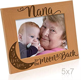 Kate Posh - Nana I Love You to The Moon and Back Engraved Natural Wood Picture Frame, for Grandma, Birthday Gifts, Best Grandma Ever, Granddaughter & Grandson (5x7-Horizontal)