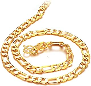 Father's Day Gift 6mm width Men's Flat Link Necklace 18k Yellow Gold Plated Gold Necklace 20""