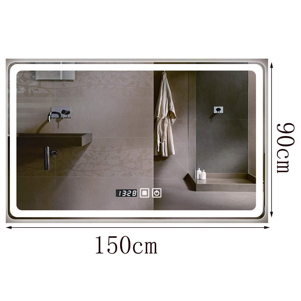 Bathroom mirror Espejo De Baño, Smart Touch Control, con Iluminación LED, Se Puede Cambiar La Luz Blanca Y Cálida, Desempañado con Un Solo Botón, Pantalla De Tiempo Y Temperatura.: Amazon.es: Hogar
