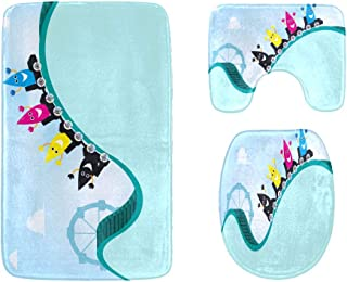 A Thrilling Game Roller Coaster Bathroom Rug Mats Set 3-Piece,Soft Shower Bath Rugs,Contour Mat and Toilet Seat Lid Cover ...