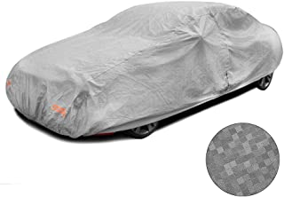 Touch rich Multi-Layer Car Cover Waterproof All Weather Outdoor Rain Sunscreen UV Protection with Zipper Cotton Windproof Belt for Cars (190)