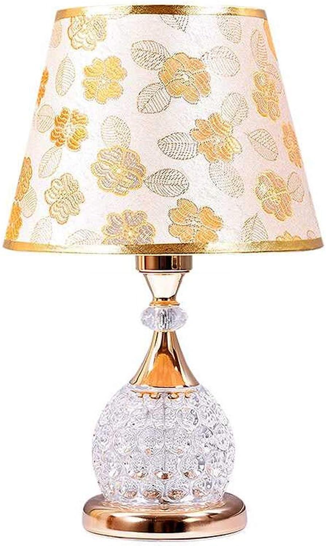 Tischlampe Tischlampe Tischlampe Kristall Tischlampe Gold Silber Stoff Kristall Nachttischlampe Europäischen Wohnzimmer Schlafzimmer Dekoration Tischlampe (Golden) B07K515XTK | Marke  60e163