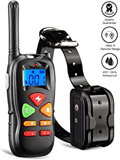 Wiscky Shock Collar for Dogs Dog Training Collar with Remote for Small Medium Large Dogs, [2018 Upgraded Version] 1800ft Waterproof Rechargeable with Beep/Vibration/Electric Shock
