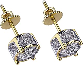 Hip Hop Earring, 18k Bling Bling Gold Plated Silver Screw Back Stud Round Earrings For Men and Women