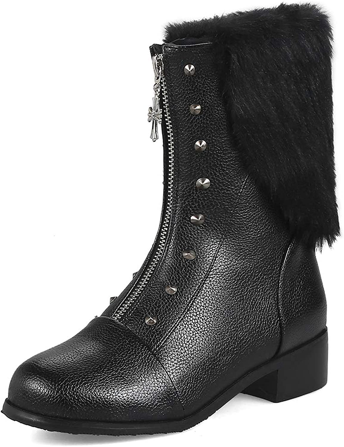 TWGDH Zip Front Leather Boots Mid-Calf Martin Boots Waterproof Non-Slip Fur Lined Outdoor Low Heel shoes