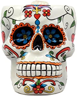 Atlantic Collectibles White Day of The Dead Crucifix Sugar Skull Mug In Bright Vivid Colors Drink Coffee Cup Ceramic 4.5