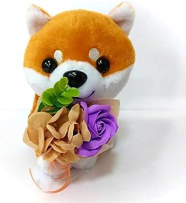 ソープフラワーブーケ付き かわいい柴犬 (紫)