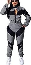 Bluewolfsea Women's Letter Print 2 Piece Outfit Colorblock Windbreaker Jacket Crop Top and Long Pants Set
