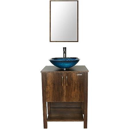 "24/"" Bathroom Vanity Cabinet W// Mirror Rectangl Ceramic Sink Faucet Combo Brown"