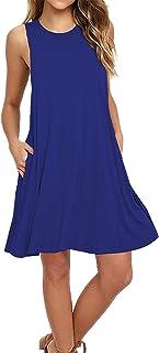 Yidarton Women Sleeveless Casual T-Shirt Vest Pockets Dress