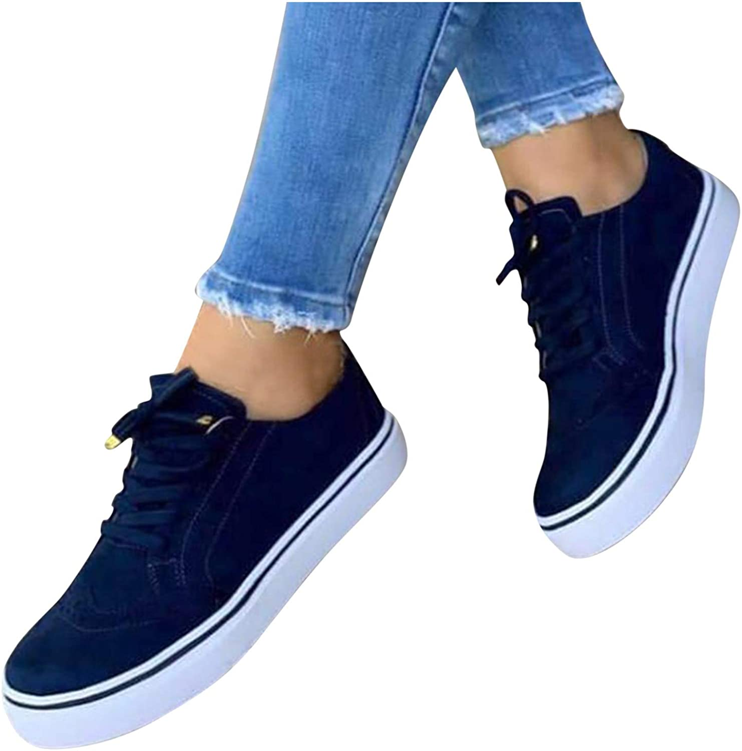 AODONG Sneakers for Women Running Shoes Slip On Sneakers Comfort Walking Shoes Lace Up Flat Lightweight Casual Sneakers
