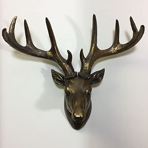 74150dfcc55d3 LARGE Deer Head Wall Decoration in Painted Bronze Animal Wildlife Home  Decor Unique Gift Idea H29cm
