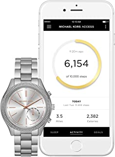 Michael Kors Womens 42mm Access Slim Runway Silvertone Pav=Hybrid Smart Watch