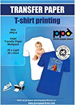 """PPD Inkjet Iron-On Mixed Light and Dark Transfer Paper LTR 8.5X11"""" - Pack of 40 Sheets (PPD005-Mix)"""