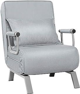 COSTWAY Sofá Cama Plegable Individual Silla Sillón Multifuncional Ajustable para Oficina Balcón (Gris Claro)