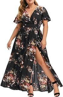 SLENDIPLUS Vestido feminino plus size gola V vestido longo casual manga curta ombro vazado Boho estampa floral Boho vestid...