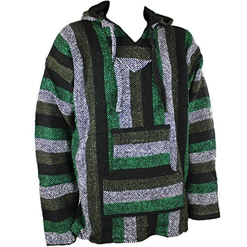 Mexikanischer Baja-Jerga-Hoodie, Kapuzenhemd, Hippie-Style, Festival-Top, Mintgrün, Größen M / L / XL / XXL Gr. XXL, grün