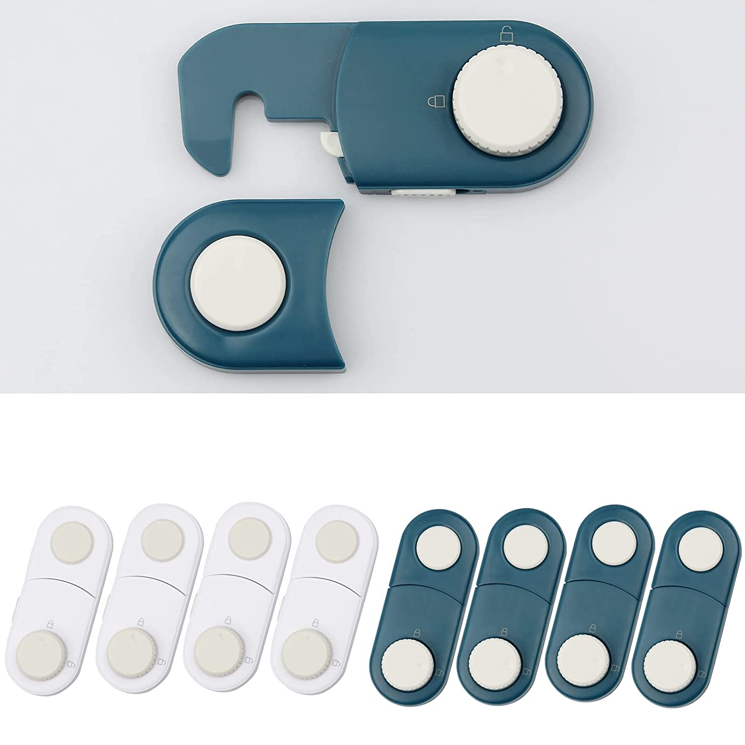 Drawer Locks Baby Proofing Cabinet Locks Child Safety Products Child Proof Cabinet Latches with 3M Adhesive (8 PACK)Kids Childproof key Kit for Refrigerator Fridge Glide Knobs Oven Pantry Home Saftey