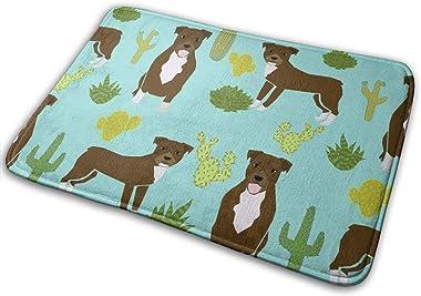 Pitbull Terrier Cactus Cute Dog Sweet Dogs Rescue Mint Dog_23862 Doormat Entrance Mat Floor Mat Rug Indoor/Outdoor/Front Door
