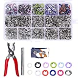 200 Sets Snap Fasteners Kit Tool, Metal Snap Buttons Rings with Fastener Pliers