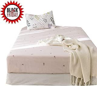 AMWAN Fresh Soft Cotton Fitted Sheet Twin Flower Floral Kids Girls Bedding Sheet Deep Pocket Single Bed Sheet Lightweight Teens Children Fitted Sheet Cotton Mattress Cover (NO Pillowcases)