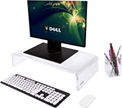 OFFICE1ST Acrylic Monitor Stand Monitor Riser Computer Stand Keyboard Storage Support Laptop Riser, Printer, TV Screen Stand, Free Pencil Holder(Large)