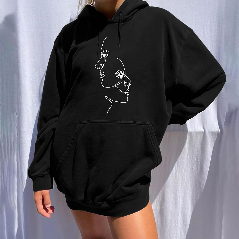 Women's Casual Hoodie Tops Vintage Funny Printed Hooded Sweatshirt Drop Shoulder Long Sleeves Pullover