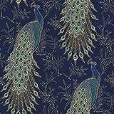 RASCH 215700 Papier peint en plumes d'oiseaux exotiques métallisées Bleu marine/doré 10 m