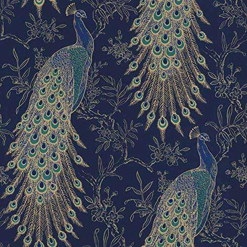 RASCH (U.K) Limited Rasch Portfolio Pfau Tapete, marineblau gold metallisch exotische Vogelfedern Lusury Wand 10 m Rolle 215700