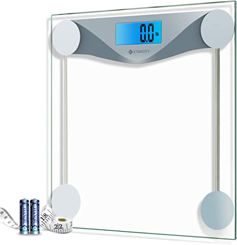 Etekcity Digital Body Weight Bathroom Scale with Body Tape Measure, 6mm Tempered Glass, 400 Pounds Scales, Silver
