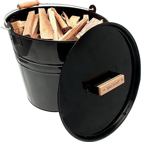 Valiant FIR243 Seau pour petit bois de cheminée Noir