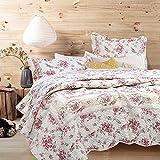 Cozy Line Home Fashions Vintage Rose 3-teiliges Bettwäsche-Set mit rosa Blumen bedruckt, 100 prozent Baumwolle, wendbar, Tagesdecke, für Damen (Rose, King – 3-teilig)