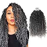 5packs NEW Goddess Locs Crochet Hair 14 Inch River Fauxs Locs Wavy Crochet With Curly Hair In Middle And Ends Boho Hippie Locs Synthetic Braiding Hair Extension (14 inch, OT-gray)