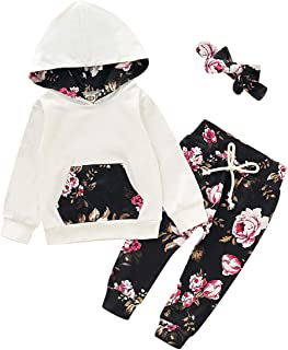 Infant Baby Girl Clothes Set Long Sleeve Flowers Printed Hoodie Sweatshirt Top+Pants+Bowknot Headband Outfits