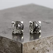 Sterling Silver Stud Earrings with Rose Cut Tourmalinated Quartz