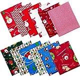 12 Piezas Paquetes de Tela de Algodón Gruesos de Navidad Paquetes Grandes Tela Acolchado Costura Patchwork Surtido Precortado �rbol Navidad Papá Noel (20 x 16 Pulgadas)