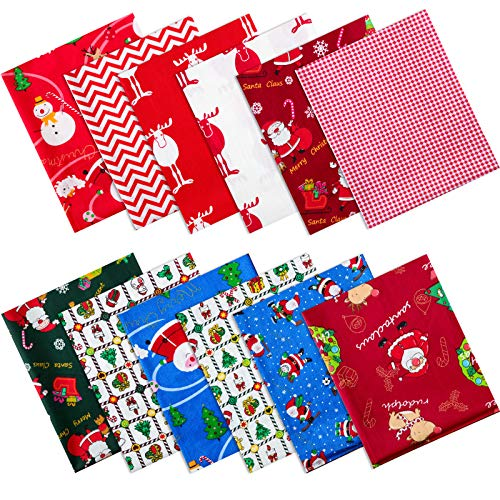 12 Piezas Paquetes de Tela de Algodón Gruesos de Navidad Paquetes Grandes Tela Acolchado Costura Patchwork Surtido Precortado Árbol Navidad Papá Noel (20 x 16 Pulgadas)