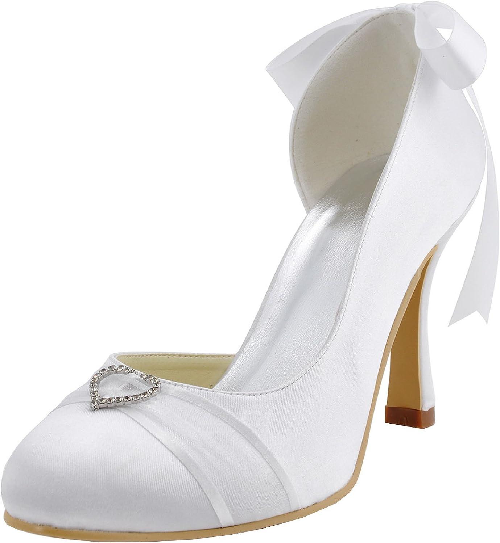 Minishion MZ591 Womens Round Toe Stiletto Heel Ribbon Bridal Satin Pump