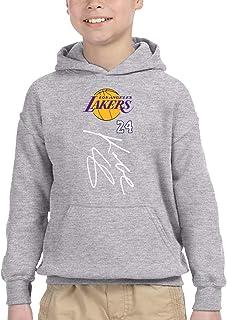 Lakers 24 バスケットボール パーカー プルオーバー ボーイズ トレーナー スウェット 長袖 トップス 秋冬 無地 フード ゆったり オシャレ 男の子 女の子