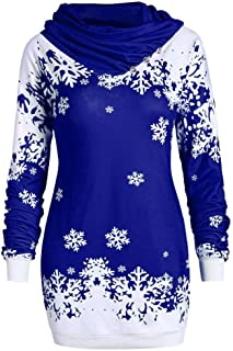 Women's Ugly Christmas Sweater Long Sleeve Hoodie Cowl Neck Button Snowflake Printed Jumper Pullover