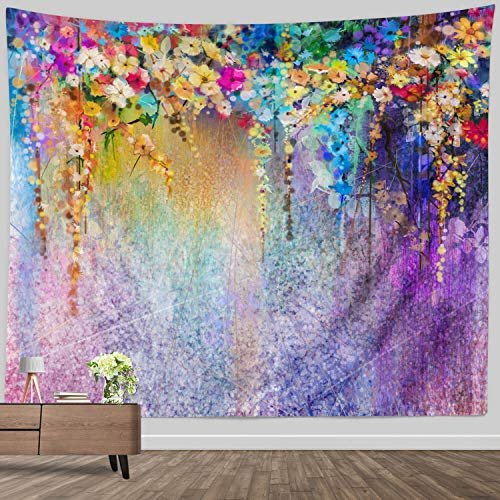 Watercolor Flower Decor Tapestry, Floral Tapestry Wall Hanging Room home decoration Colorful Abstract Wall Tapestry for Bedroom Living Room Dorm, 60 x 80