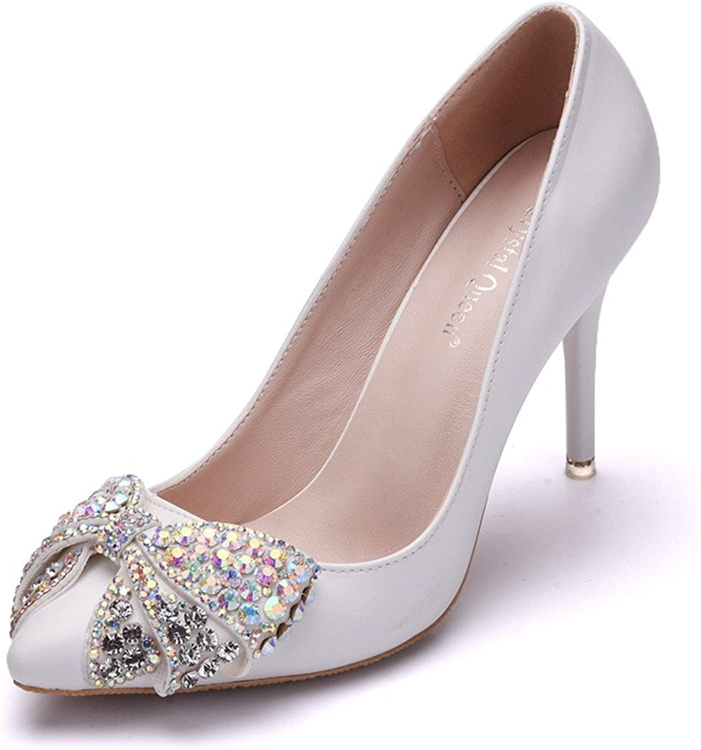 MODEOK White Stilettos Women's Rhinestone Bow Heels Pointed Toes shoes Shallow Mouth