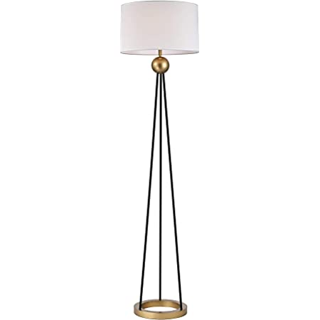 Warehouse Of Tiffany Fm166 1bl Kirsten Matte Black Gold Laminated Fabric Drum Shade 1 Light Floor Lamp Amazon Com
