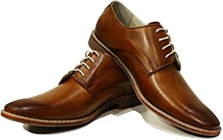 Modello Malato - Handmade Italian Mens Color Brown Oxfords Dress Shoes - Cowhide Hand Painted Leather - Lace-Up