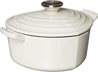 Le Creuset L25C1-0216S Signature Cast Iron Heart Shaped Dutch Oven With Stainless Steel Knob, 2.25 quart, White