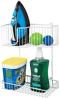 mDesign Metal Wire Wall Mount Laundry Room Storage Organizer, 2 Levels - Large Basket Holds Iron, Lower Shelf Holds Laundry Detergent, Fabric Softener, Stain Remover - White