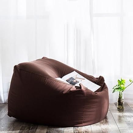 【下单立减50元】Addoil 日式良品纯色懒人沙发 可拆洗懒骨头豆袋 成人袋沙发 创意单人布艺沙发(深咖啡色)